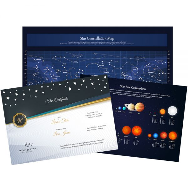 Star Certificate Sky Map and Star size chart